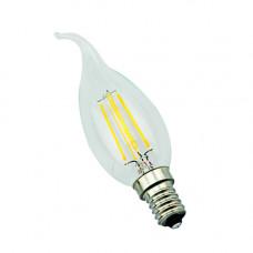 E14-5W-4000K Лампа LED (Свеча на ветру прозрачная Филомент)